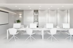 White office interior with a row of chairs, long table and computers. 3d illustration vector illustration