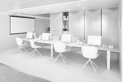 White office interior with a row of chairs, long table and computers Royalty Free Stock Images