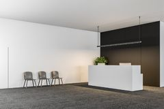 White Office Reception Black Wall, Chairs Stock Images