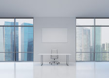 White office. With table and charts, 3d render Stock Photography
