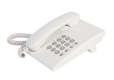 White office telephone. Close up white office telephone isolated Stock Image