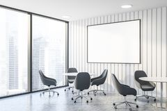 White office waiting room corner with poster royalty free stock photography