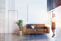 White office waiting room with poster, woman royalty free illustration