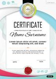 White official certificate with badge and wafer. Vector template. Grey colorful design elements on white background. Official blan Stock Photography