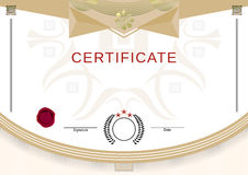 White official certificate with beige graphical elements Stock Images