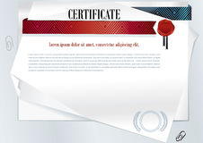 White official certificate. Sheets of paper and red turquoise ribbon Royalty Free Stock Image