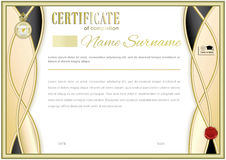 White official certificate with wafer, emblem, gold border Stock Images
