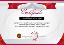 White official modern certificate with red frame Stock Photography