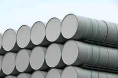 White oil barrels. Detail from a pile of barrels ready for use Royalty Free Stock Image