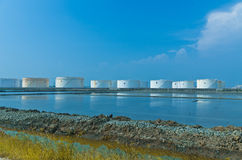 White oil tanks Royalty Free Stock Photography