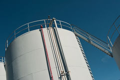 White oil tanks Royalty Free Stock Images