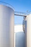 3 white oil tanks Royalty Free Stock Photos
