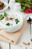 White Okroshka in a white tureen Royalty Free Stock Image