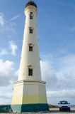 The white old California Lighthouse in Aruba Royalty Free Stock Images