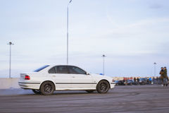 White old-car BMW to drift Stock Image