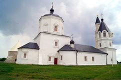 White old church in Bolgar, Russia stock images