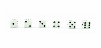 White old dice on a white background Royalty Free Stock Photo