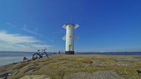 White old lighthouse in Swinoujscie, Poland Royalty Free Stock Photos