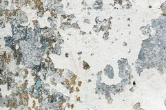 White old paint with rust spots. White blue old paint with rust spots on concrete for industrial texture royalty free stock images