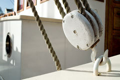 White old pulley. On a yacht Royalty Free Stock Image