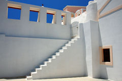White old staircase in church at Santorini Stock Photos