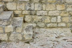 White Old Stone Stairs, Wall and Floor Stock Photo