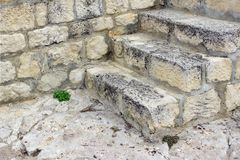 White Old Stone Stairs, Wall and Floor Royalty Free Stock Photography