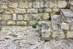 White Old Stone Stairs, Wall and Floor Stock Image