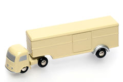 White old style toy truck. One of the many thousand  toys my brother is collecting. Repro from a 1950's toy truck. full metal Royalty Free Stock Photo