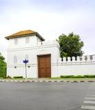White old Thai style fort at wat prakaew, bangkok Royalty Free Stock Photos