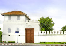 White old Thai style fort at wat prakaew, bangkok Stock Image