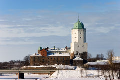 White old tower over winter town Royalty Free Stock Image