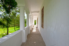 White old verandah of old rectory house, Hungary. White old verandah of old rectory house in Hungary Royalty Free Stock Photos