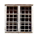 White old window isolate in white background. Old wooden window frame. Metal lattice in the window. Object  in white background Royalty Free Stock Photos