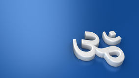White Om on blue Stock Photography