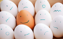 White and one brown smile eggs in tray horizontal Royalty Free Stock Photos