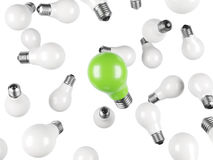 White and one green lightbulb Royalty Free Stock Photo