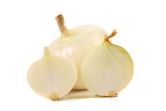 White onion and slices Royalty Free Stock Image