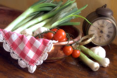 White onions and tomatoes Stock Photo