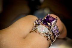 White Opal Ring Stock Photos