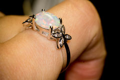 White Opal Ring. Fashion silver ring with white fire opal Royalty Free Stock Images