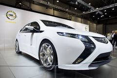 White opel ampera on car show Royalty Free Stock Photography