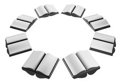 White Open Books Illustration. White books arranged in a circle. Open with blank pages displayed. Isolated 3D illustration on white background. Horizontal format Royalty Free Stock Photos