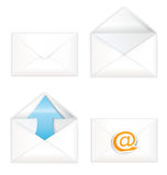 White open closed envelope icon set Stock Image