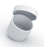 White open cylinder box close up left view. Stock Images