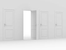 White open door. 3D image Stock Photography