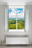 White open double door window. With radiator under it. Domestic room royalty free stock photography