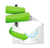 White open envelope with paper and message Stock Images