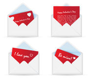 White open Envelope with Valentine card. Happy Valentine's Day Stock Photo