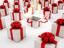 White open gift box standing out Stock Photography